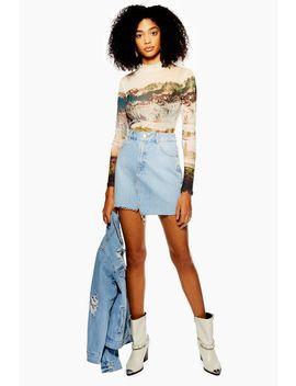 Petite Asymmetric Mid Stone Denim Skirt by Topshop