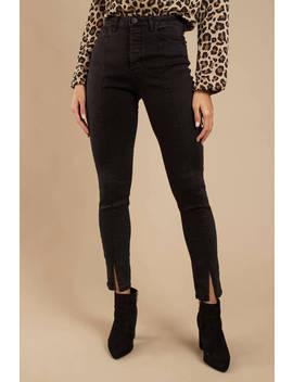 Hampstead Black High Rise Cropped Skinny With Seaming And Hem Slits by Tobi