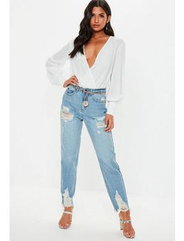 White Wrap Zip Cuff Bodysuit by Missguided