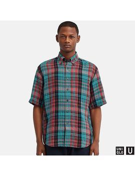 Men Uniqlo U Premium Linen Wide Fit Checked Short Sleeved Shirt by Uniqlo