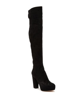 Nero Suede Platform Over The Knee Boot (Women) by Gianvito Rossi