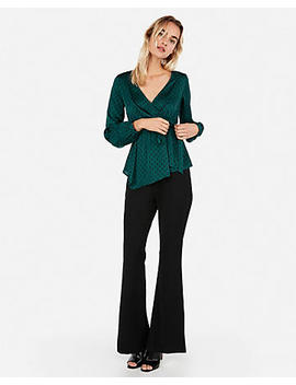 Print Asymmetrical Wrap Top by Express