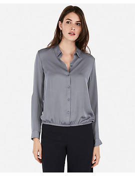 Satin Banded Bottom Shirt by Express