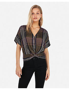 V Neck Twist Front Blouse by Express