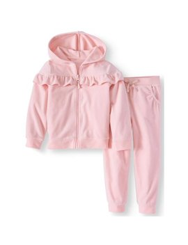 Wonder Nation Toddler Girls' Ruffle Velour Track Suit, 2pc Outfit Set by Wonder Nation