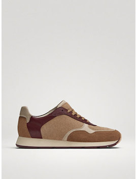 Sand Coloured Embossed Split Suede Trainers by Massimo Dutti