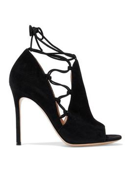 Lace Up Suede Pumps by Gianvito Rossi