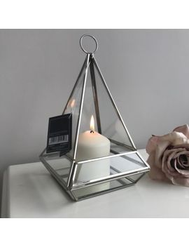 New Beautiful Silver Lantern Indoor Candle Holder Gift Home Decor Chrome by Ebay Seller