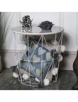 Wood White Marble Effect Wire Basket Side Occasional Table Storage Furniture by Ebay Seller