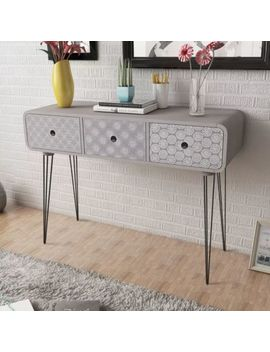 Side Cabinet Console Table 3 Drawers Plant Stand Grey/Brown Hallway Furniture by Ebay Seller