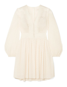 Linen Trimmed Plissé Jacquard Mini Dress by Zimmermann