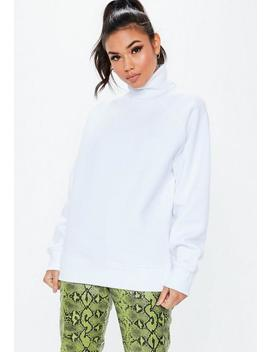 White Roll Neck Raglan Oversized Sweatshirt by Missguided