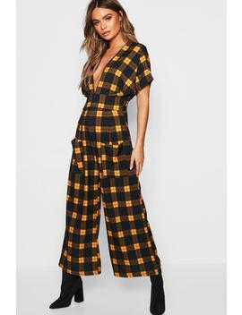Check Batwing Culotte Jumpsuit by Boohoo