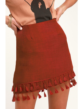 All Bets Are Off Rust Red Tassel Mini Skirt by Lulus