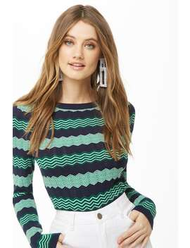 Chevron Pointelle Top by Forever 21
