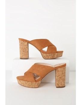 Sicily Rust Brown Suede Cork Platform Heels by Lulus