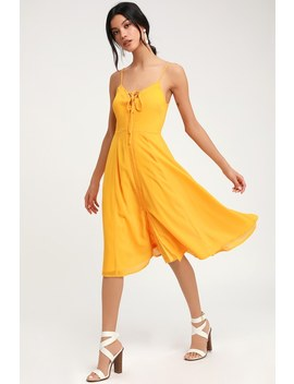 Don't Steal My Sunshine Golden Yellow Lace Up Midi Dress by Lulus