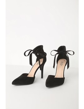 Wylenn Black Suede Lace Up Pumps by Lulu's