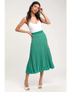 Yuri Green Striped Pleated Midi Skirt by Astr The Label