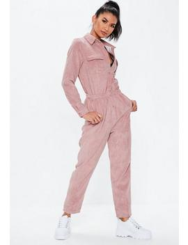 Blush Cord Utility Jumpsuit by Missguided