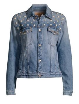 Faux Pearl Embellished Denim Jacket by 7 For All Mankind