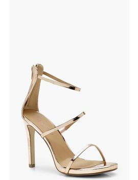 Wide Fit 3 Band Stiletto Sandals by Boohoo