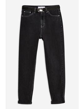 Wash Black Seatbelt Mom Jeans by Topshop