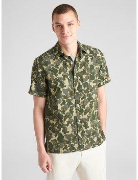 Standard Fit Camo Print Short Sleeve Shirt by Gap