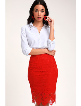 Just Like A Dream Red Lace Pencil Skirt by Lulus