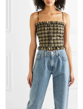 Charron Cropped Shirred Checked Cotton Blend Seersucker Top by Ganni