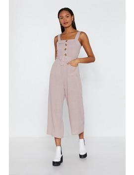 Bring It Button Linen Jumpsuit by Nasty Gal