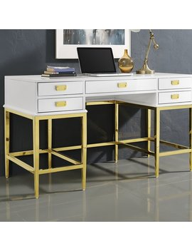 Gilbery Stainless Steel And Antique Glass Five Drawer Writing Desk by Everly Quinn