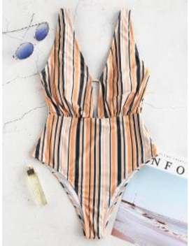 Zaful Colorful Striped Plunging Swimsuit   Multi A S by Zaful