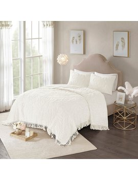 Madison Park 3 Piece Virginia Cotton Chenille Medallion Fringe Coverlet Set by Kohl's