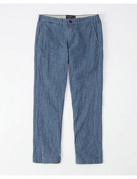 Straight Chambray Pants by Abercrombie & Fitch