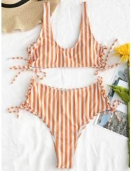 Zaful Lace Up Striped Bikini Set   Dark Orange S by Zaful
