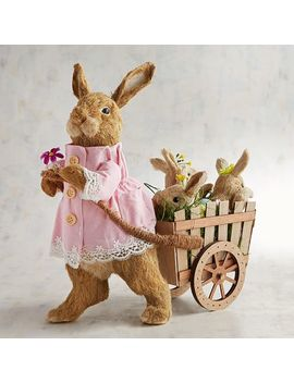 Heidi & Babies Natural Bunnies In Cart by Pier1 Imports
