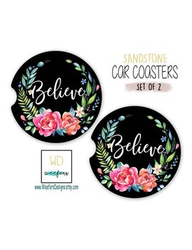 Believe Car Coasters, Inspirational Quote Gifts, Statement Gifts, New Car Gift, Car Parts, New Job Gift Co Worker Gift Ideas (Car0036) by Etsy