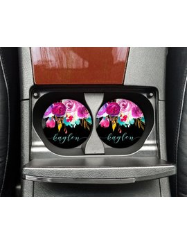 Bright Floral | Car Accessory For Woman | Car Coaster | Personalized Car Coaster | Monogram Car Coaster | Car Accessory | by Etsy