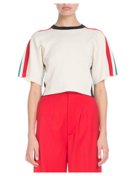Crewneck Short Sleeve Racer Stripe Crop Sweater by Proenza Schouler