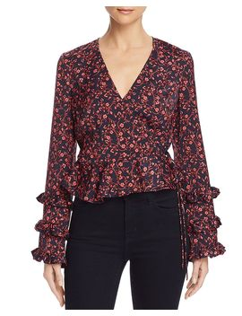 Archer Floral Print Wrap Top by The Fifth Label