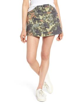 The Viper Camo Cutoff Denim Miniskirt by Hudson Jeans
