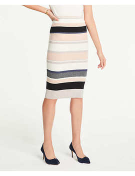 Petite Stripe Ribbed Sweater Pencil Skirt by Ann Taylor