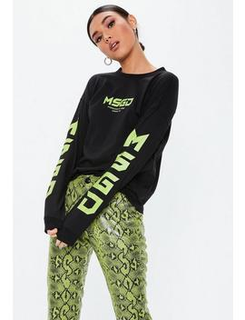 Black Msgd Long Sleeve Graphic T Shirt by Missguided