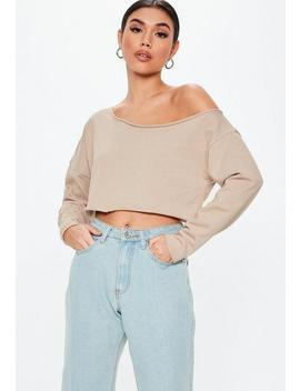 Stone Off Shoulder Cropped Sweatshirt by Missguided