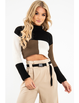 Black Colour Block Chunky Knit Jumper   Maebel by Rebellious Fashion