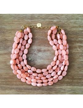 Necklace For Women Peach Bead Necklace – Chunky Beaded Necklace Handmade In Just Peachy Beads, Spring 2018 Fashion by Etsy