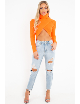 Light Wash Extreme Front Rip Mom Jeans   Miko by Rebellious Fashion