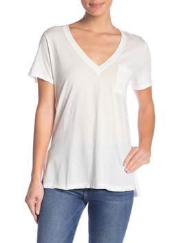Hi Lo Raw Edge V Neck Tee by Lush