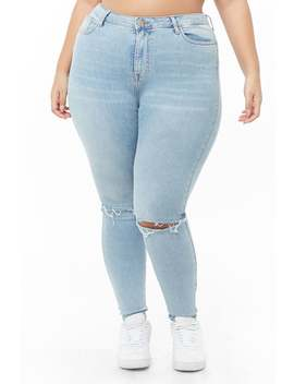 Plus Size Sculpted Ripped Jeans by Forever 21